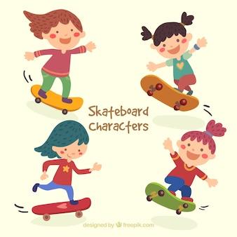 Ilustración de chica patinadora