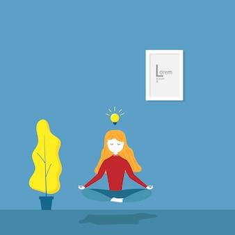 Ilustración de chica practica meditación yoga para la idea en su vector de dibujos animados plana habitación