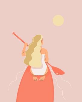 Ilustración de una chica rubia sentada en una tabla de sup en el mar