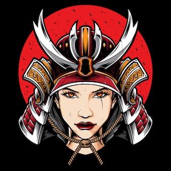 Ilustración de chica samurai