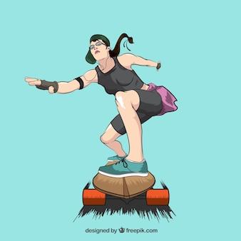 Ilustración de chica skater dibujada a mano