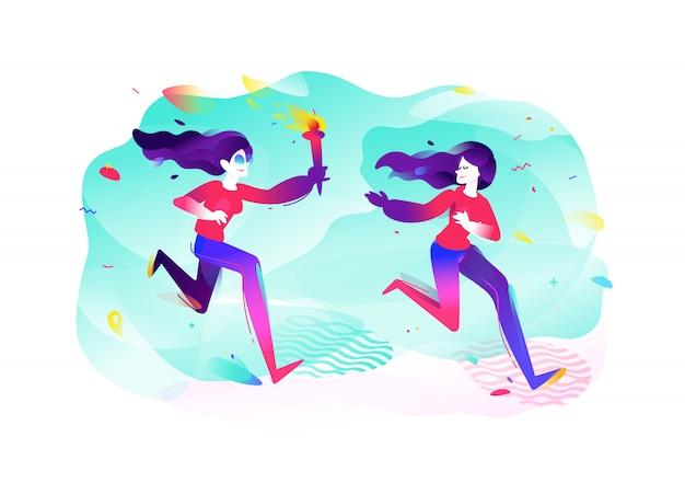 Ilustración de chicas con una antorcha