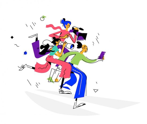 Ilustración de chicas bloggers.