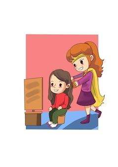 Ilustración de chicas jóvenes haciendo cambio de imagen