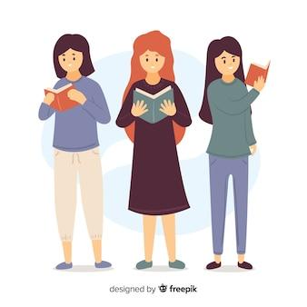 Ilustración de chicas jóvenes leyendo sus libros