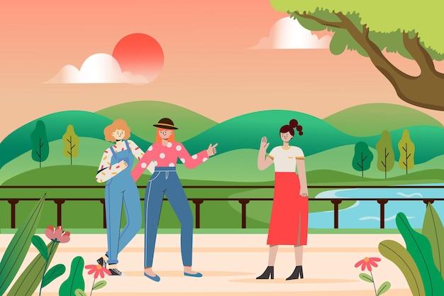 Ilustración de chicas saludando en el puente junto al lago