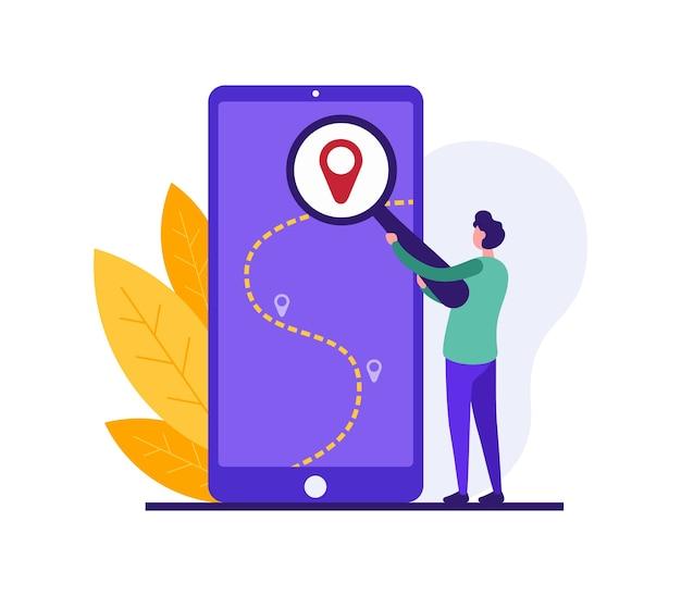 Ilustración de chico de dibujos animados con lupa buscando ubicación en el mapa gps