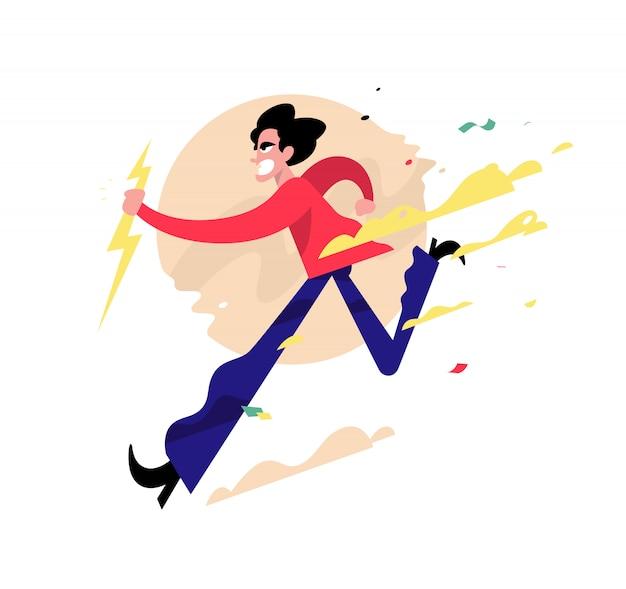 Ilustración de un chico malvado corriendo