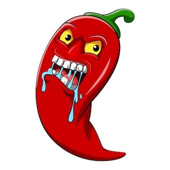 La ilustración del chile rojo con cara caliente para la deliciosa comida picante