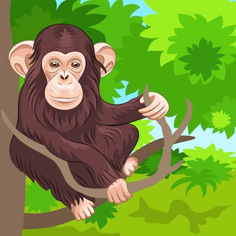 Ilustración de chimpancé mono gracioso en la selva cartoon