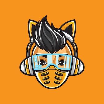 Ilustración de ciberpunk girl head e-sport