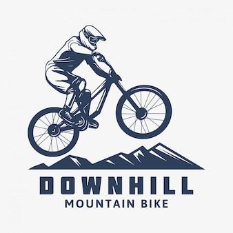 Ilustración de ciclista de bicicleta de montaña cuesta abajo