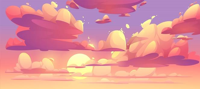Ilustración del cielo del atardecer con nubes