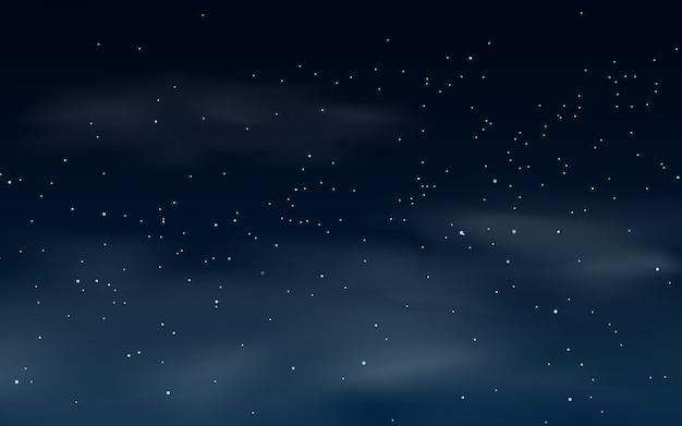 Ilustración de cielo estrellado nublado