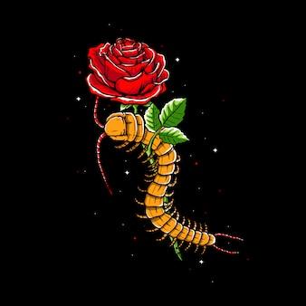 Ilustración de ciempiés y rosas