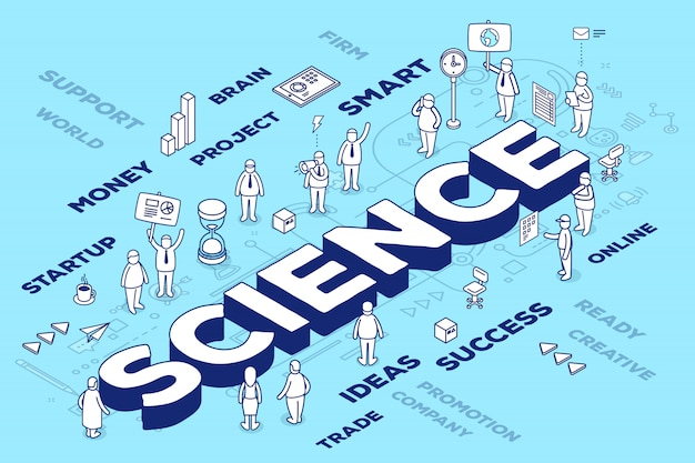 Ilustración de la ciencia de la palabra tridimensional con personas y etiquetas sobre fondo azul con esquema.