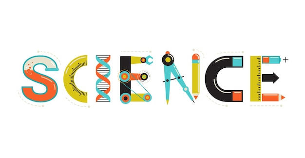 Ilustración de ciencia con tipografía.