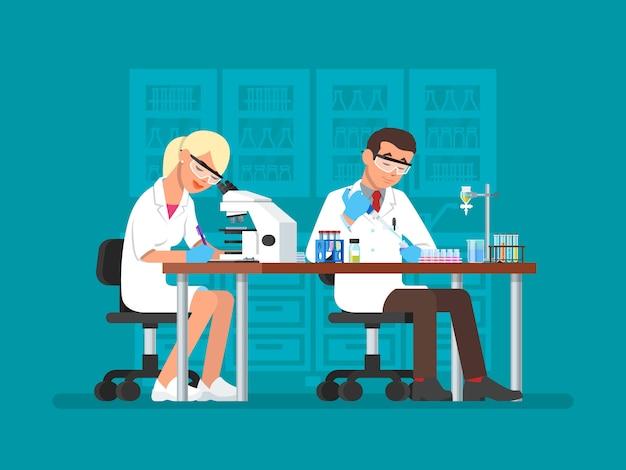Ilustración de científicos que trabajan en el laboratorio de ciencias, estilo plano