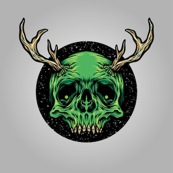 Ilustración de ciervo cuerno de cráneo