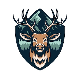 Ilustración de ciervos con montañas