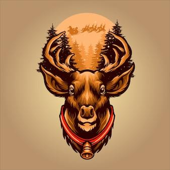 Ilustración de ciervos de navidad