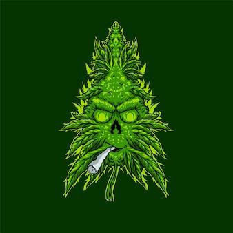 Ilustración de cigarrillos de humo de hojas de marihuana