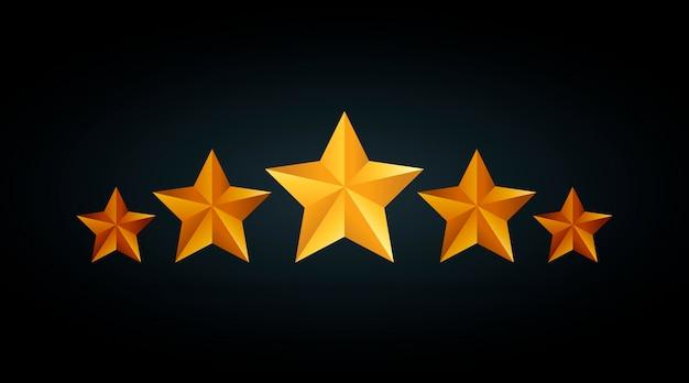Ilustración de cinco estrellas de calificación dorada en fondo negro gris.