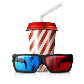 Ilustración de cine - gafas 3d y taza de cola de rayas rojas.