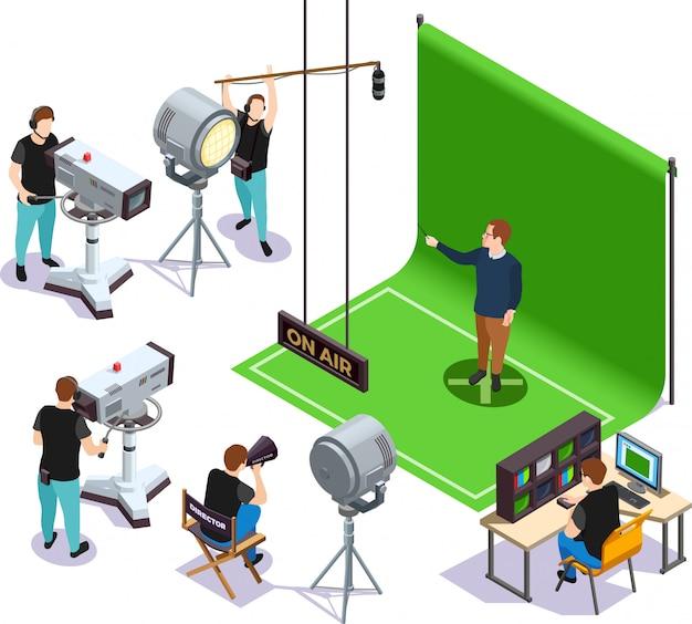 Ilustración cinematográfica isométrica