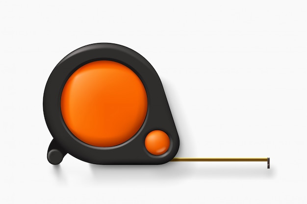 Ilustración de cinta métrica naranja con elementos negros con sombra realista
