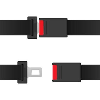 Ilustración de cinturón de seguridad de coche aislado sobre fondo blanco