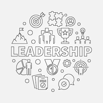 Ilustración circular de vector de liderazgo en estilo de contorno