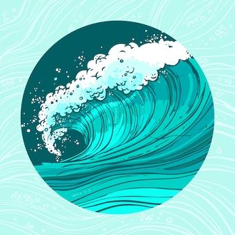Ilustración del círculo de las olas del mar