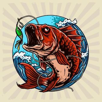 Ilustración de círculo de peces depredadores