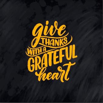 Ilustración con cita de letras para el día de acción de gracias.