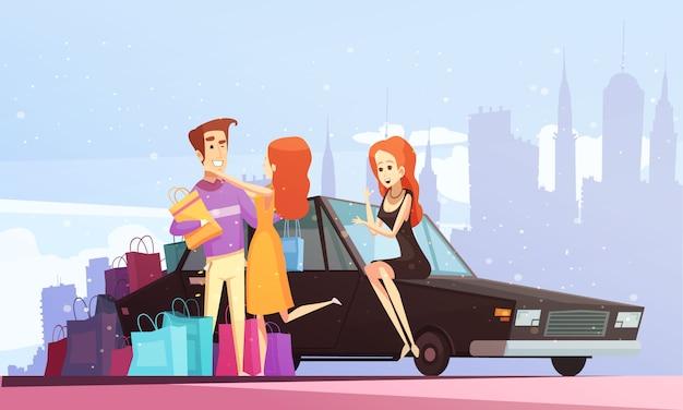 Ilustración de la ciudad de dibujos animados de compras