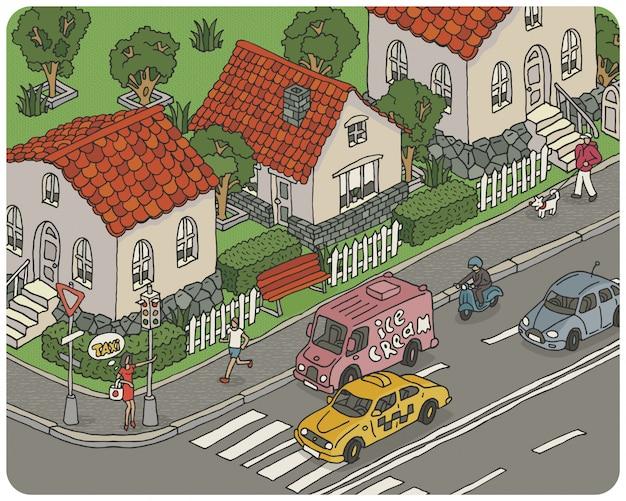 Ilustración de la ciudad de dibujos animados de vector