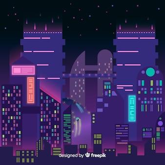 Ilustración ciudad futurista por la noche