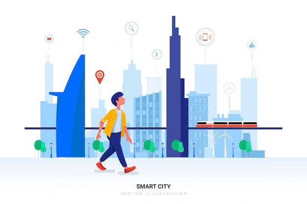 Ilustración de ciudad inteligente