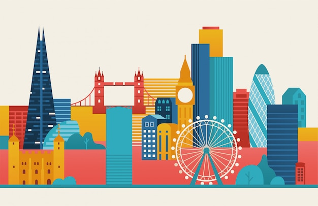 Ilustración de la ciudad de londres skyline de londres