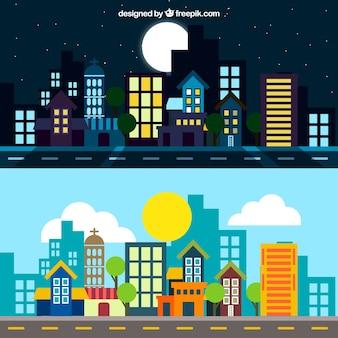 Ilustración de ciudad de noche y de día
