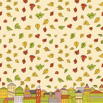 Ilustración con ciudad de otoño