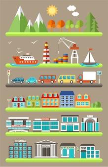 Ilustración de ciudad plana