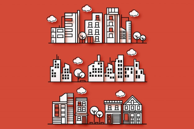 Ilustración de una ciudad con varias formas de ciudades en un estilo de papel