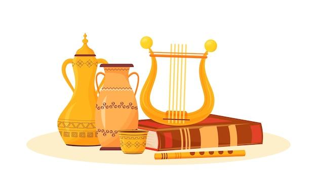 Ilustración de la clase de arte. pasatiempo creativo. pintura de cerámica y reproducción de música. metáfora del tema escolar. instrumentos musicales antiguos y objetos de dibujos animados de libros