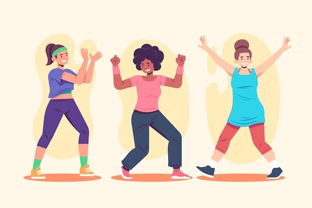 Ilustración de clase de fitness de baile dibujado a mano plana
