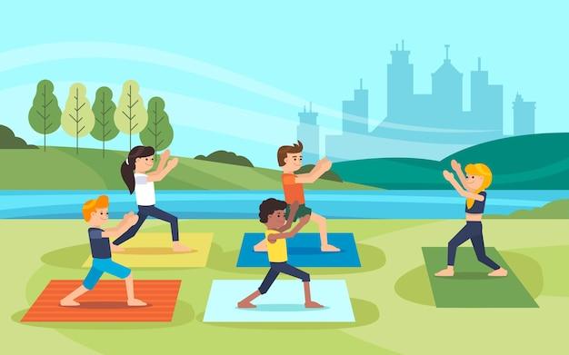 Ilustración de clase de yoga al aire libre