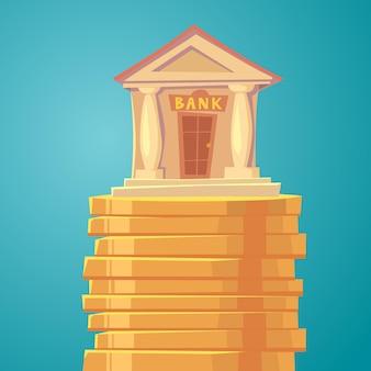 Ilustración clásica de banco con pilares