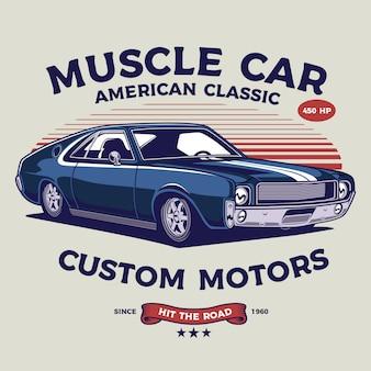 Ilustración clásica de muscle car