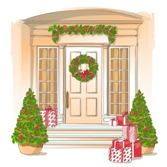 Ilustración de la clásica puerta de entrada blanca con regalos de navidad y decoraciones